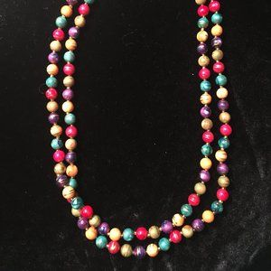 Multi-Colored Beaded Necklace - Long